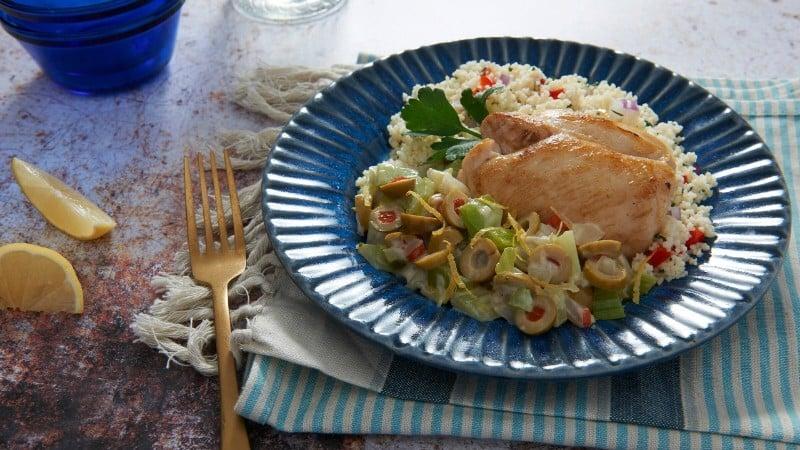 Creamy Mediterranean Chicken over Couscous