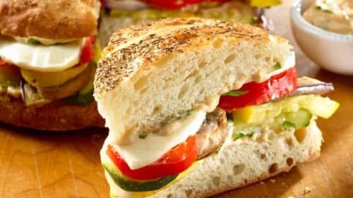 Balsamic Basil Roasted Vegetable Sandwiches Recipe