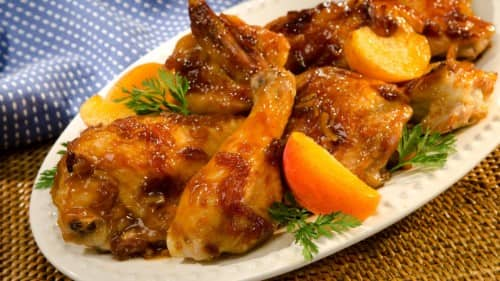 Pollo glaseado con albaricoque